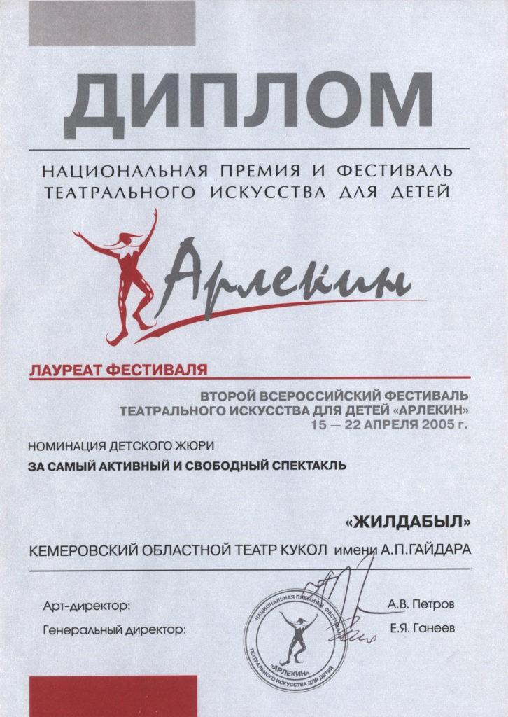 Диплом лауреата II Всероссийского фестиваля театрального искусства для детей «Арлекин», 2005 г.