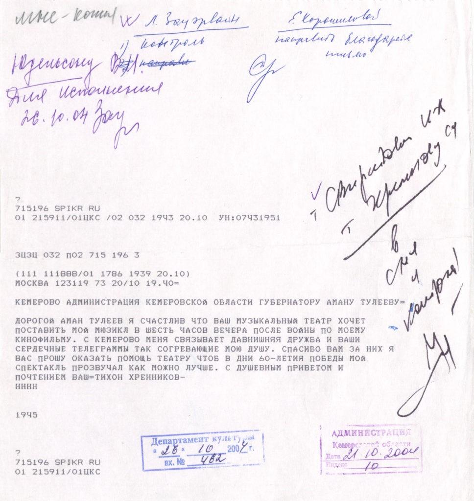 Телеграмма композитора Т. Хренникова Губернатору Кемеровской области А. Тулееву