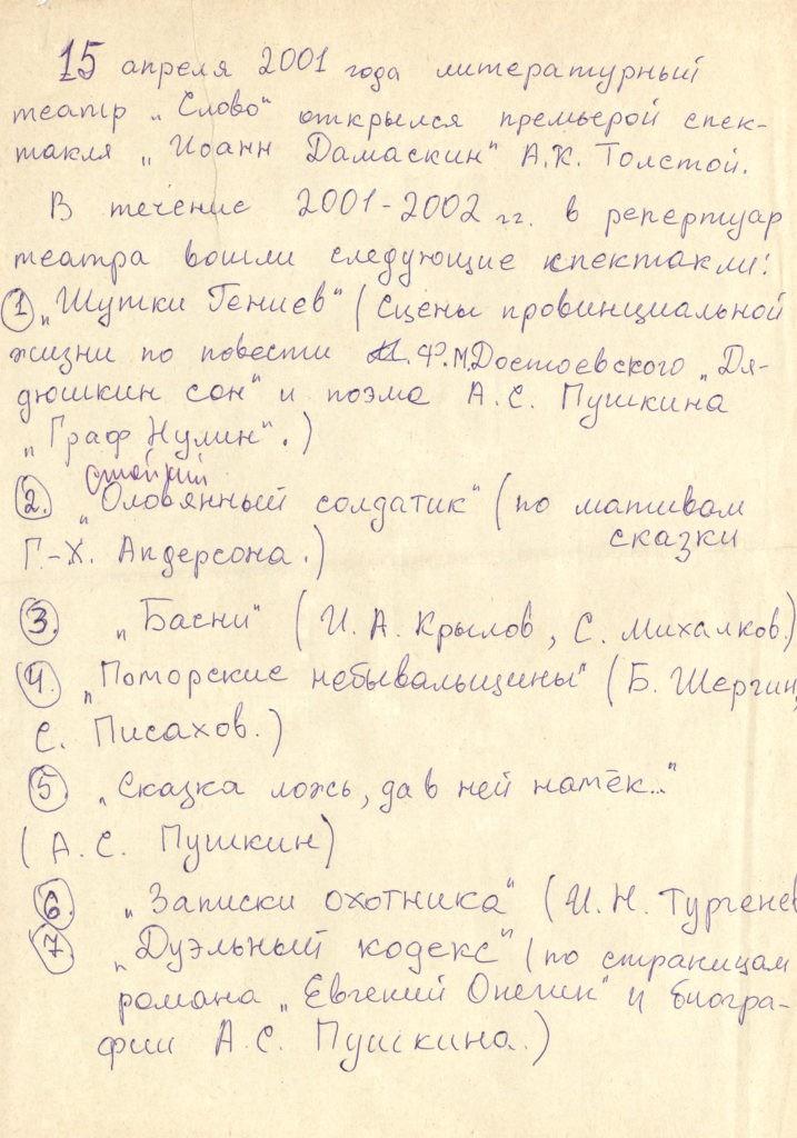 Литературный театр «Слово»: театральная хроника, черновик