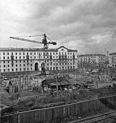 Начало строительство Кемеровского областного театра драмы, 50-е годы: фотография