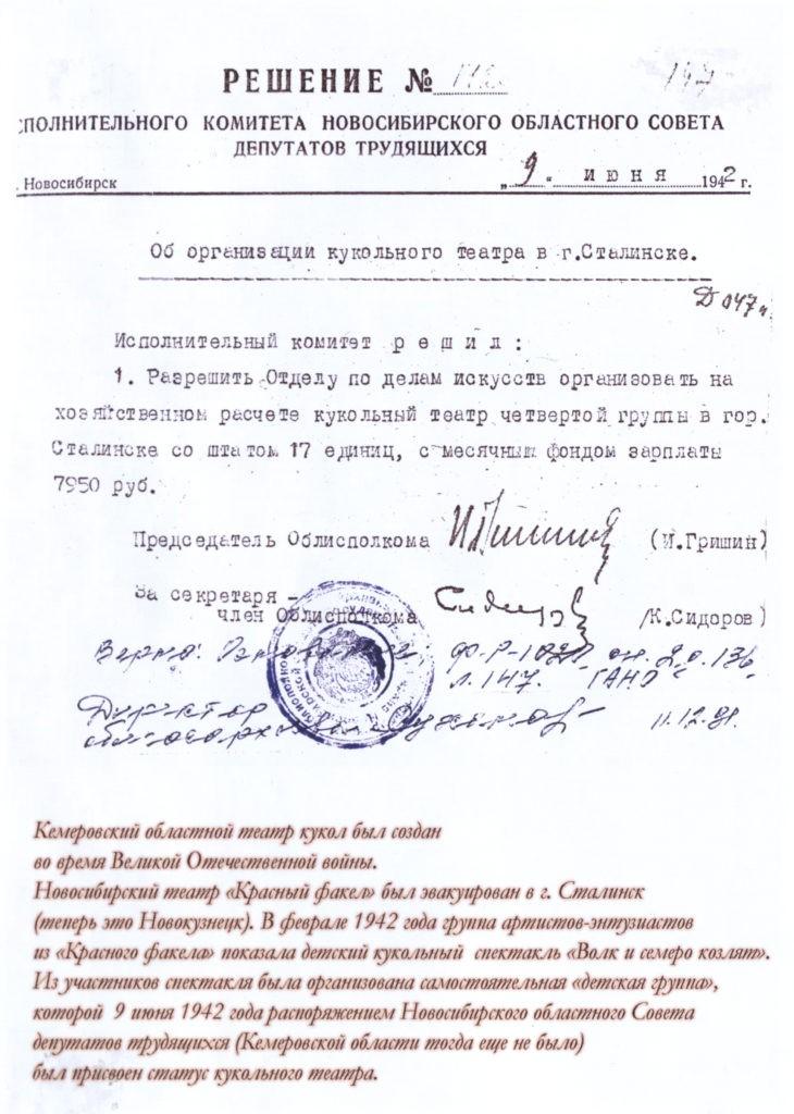 Решение исполнительного комитета Новосибирского областного Совета депутатов трудящихся, 1942 г.: архивная справка