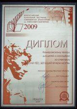 Диплом лауреата VII Всероссийского театрального фестиваля современной драматургии имени А. Вампилова, г. Иркутск, 2009 г.